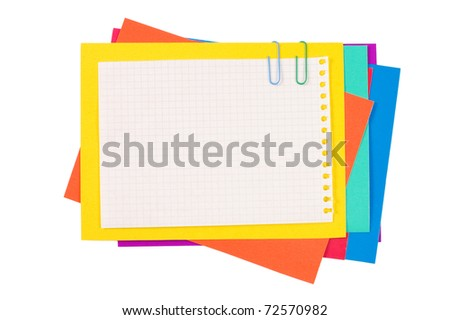 Colour paper with a paper clip - stock photo