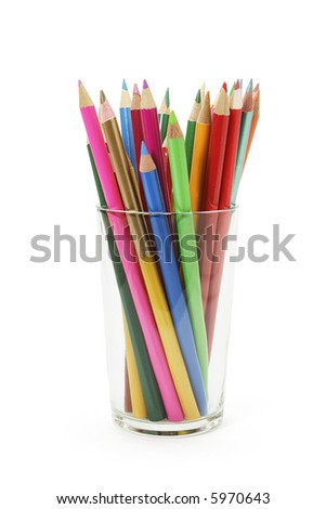 Colour Pencils in a Glass - stock photo