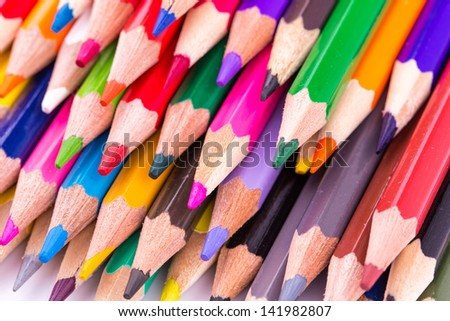 Colour pencils isolated on white background. Back to school concept.