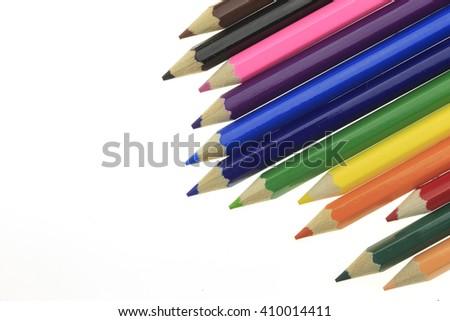 Colour pencils on white background. - stock photo