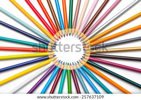 Colour pencils rainbow isolated on white background close up  - stock photo