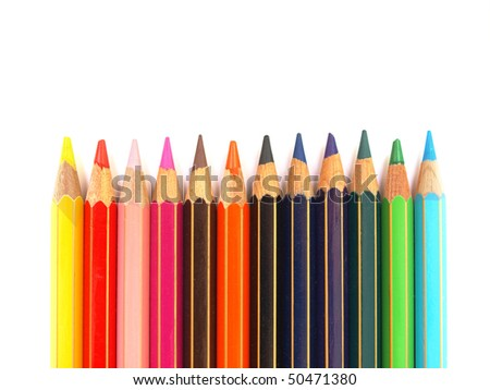 Colour pencils to color or draw on paper