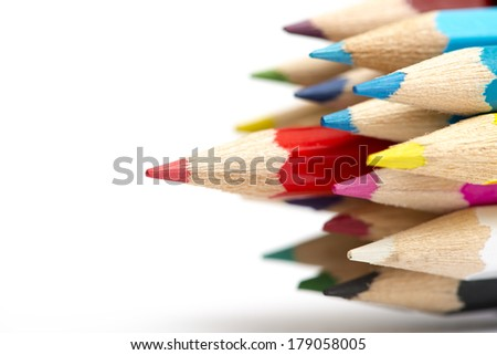 Colour pencils with different color - stock photo