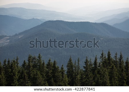 Colour picture of a mountain range covered in forests