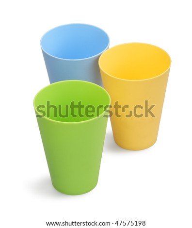 Colour plastic glasses on a white background