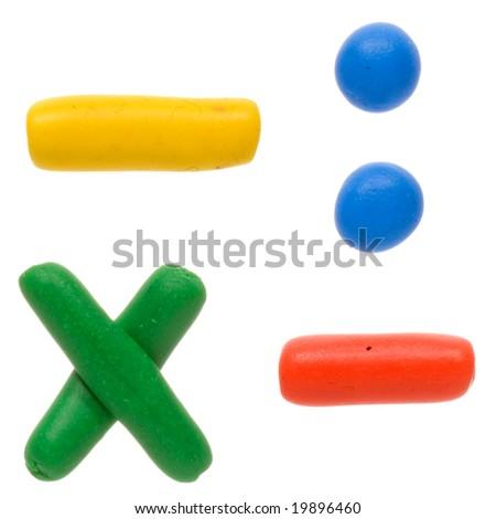Colour plasticine alphabet symbols isolated on a white background - stock photo