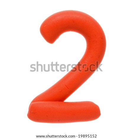 Colour plasticine figure isolated on a white background - red two - 2