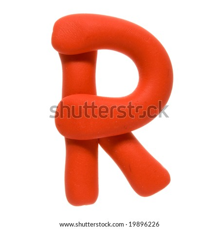 Colour plasticine letter isolated on a white background - red R - stock photo