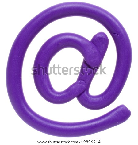 Colour plasticine symbol isolated on a white background - lilac email - stock photo