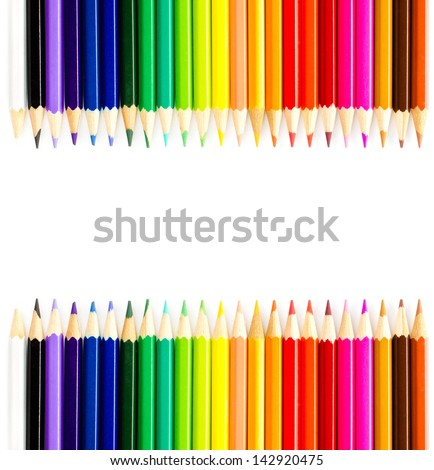 Colour Rainbow pencils isolated on white background. Back to school - stock photo