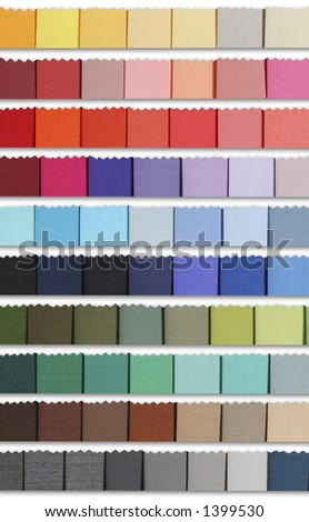 Colour samples palette of fabric. For fashion designs and decoration - stock photo