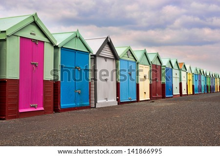 colour shed in Brighton UK - stock photo