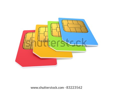 Colour sim cards isolated on white