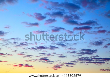 Colour sky before sunrise with clouds, may be used as background - stock photo