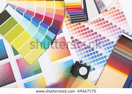 colour spectrum of swatches as used by a graphic designer or painter - stock photo