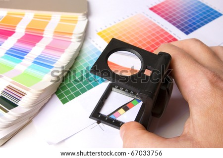 Colour swatches of many colours and colour printing bars - stock photo