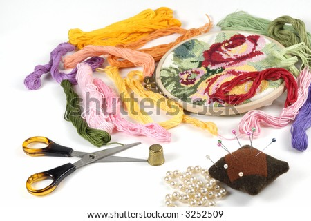 colour threads and another stuff  for embroidery - stock photo
