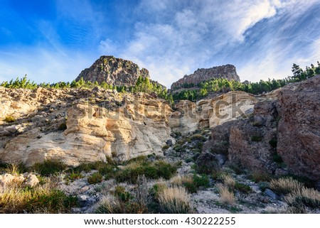 Colour volcanic rocks at Teide National park on Tenerife island - stock photo