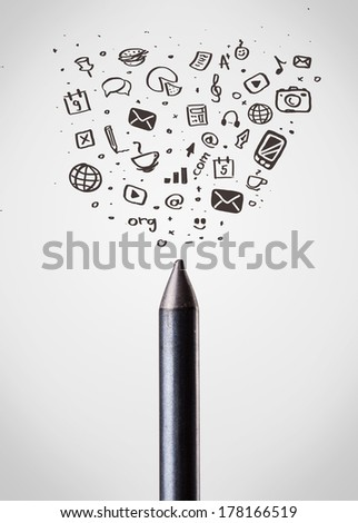 Coloured crayon close-up with sketchy social media icons - stock photo