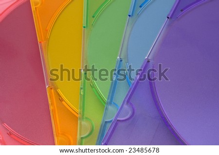 Coloured DVD boxes isolated - stock photo