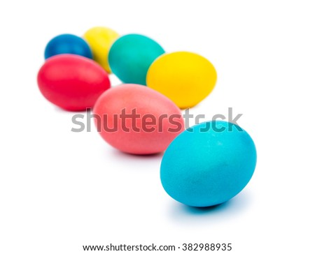 Coloured easter eggs isolated on white