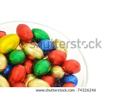 Coloured easter eggs on a white background - stock photo