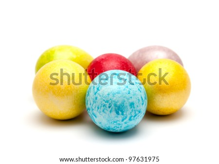 Coloured eggs for easter on white background