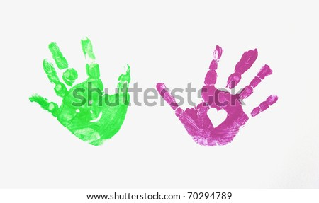 coloured hands - stock photo