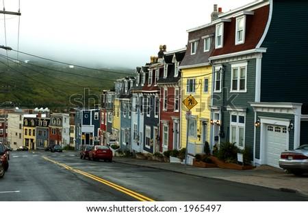 Coloured houses of St John, Newfoundland, Canada - stock photo