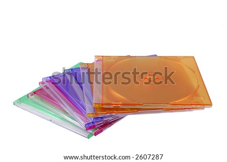 Coloured Jewel CD cases - stock photo