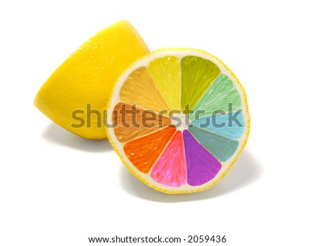 coloured lemon - stock photo