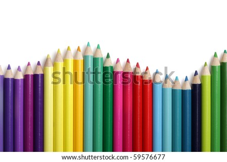Coloured pencil bar chart in wave patern on white background - stock photo