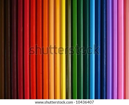 coloured pencils, rainbow - stock photo
