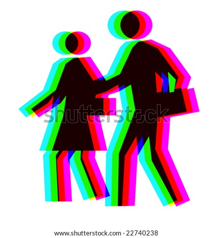 Coloured people created from rgb symbol of hope - stock photo