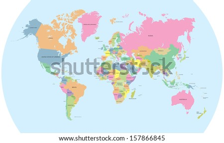 Coloured political map of the world vector - stock photo