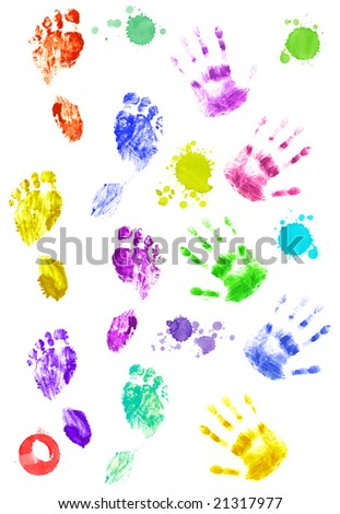 Coloured prints of palms and foots of the person. Over white - stock photo