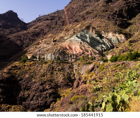 coloured rocks in the mountains of Gran Canaria