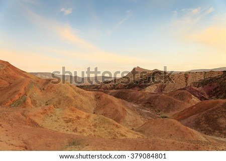 Coloured Sands at the bottom of the Big Crater (HaMakhtesh HaGadol) in Israel - stock photo