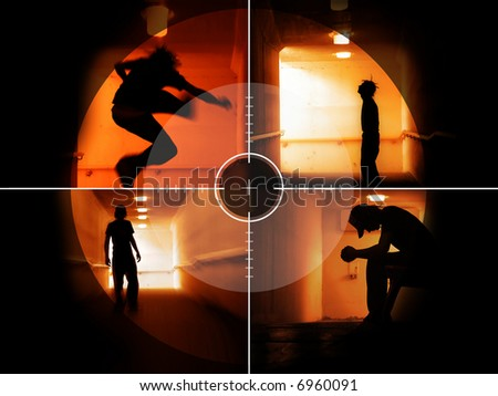 Coloured silhouettes of a troubled teenager in the crosshair - stock photo