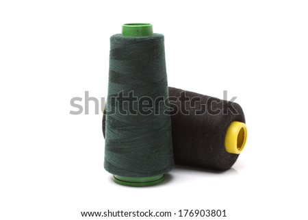 Colourful a thread on a white background  - stock photo