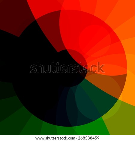 Colourful Abstract Rainbow Background. Red Green Orange Colors. Modern Illustration Design. Creative Geometric Computer Backdrop. Generated Digital Art Image. Color Circle Graphic. Minimal Logo. - stock photo