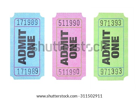 Colourful Admission Tickets on White Background - stock photo
