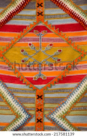 Colourful african moroccan style rug surface close up. Berber style from the Northern Morocco. - stock photo