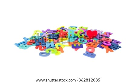 Colourful alphabet isolated background.