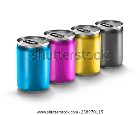 colourful aluminum can isolated on white background - stock photo