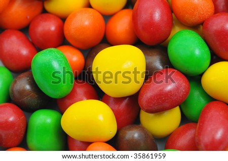 Colourful and vibrant balls of chocolate