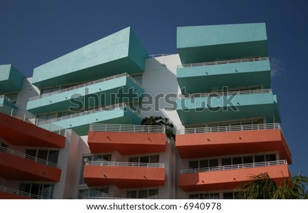 colourful apartment block Miami Beach Florida - stock photo
