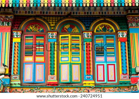 Colourful Architecture of Little India, Singapore - stock photo