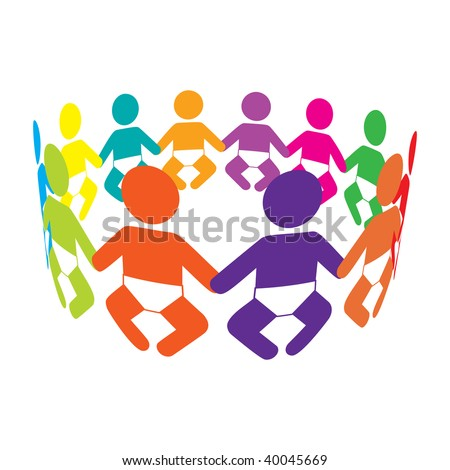 Colourful Babies holding hands in a circle - stock photo