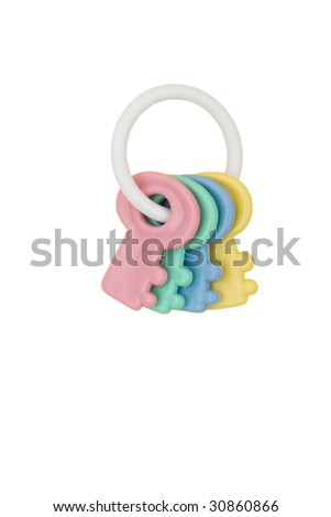 Colourful baby rattle isolated on white background, baby rattle - stock photo